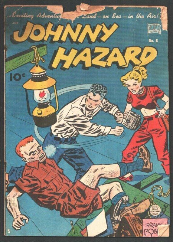 Johnny Hazard #8 1949-Standard-Frank Robbins art-crime-mystery-war-FR