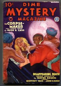 DIME MYSTERY November 1933-Walter Baumhofer torture cover-Pulp mag