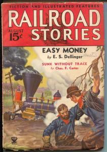 Railroad Stories 8/1934-Munsey-train crash-pulp adventure & thrills-FN