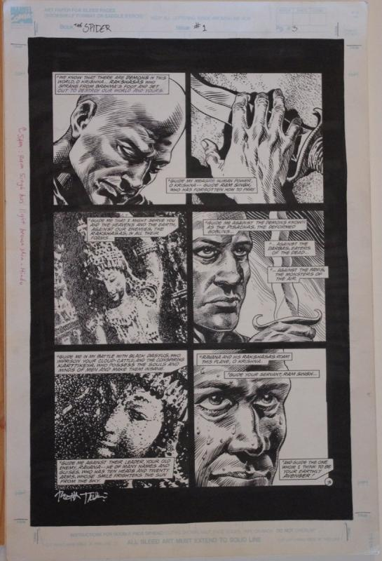 TIMOTHY TRUMAN original art, The SPIDER #1, pg 3, 13x20, Krishna, Blood Dance