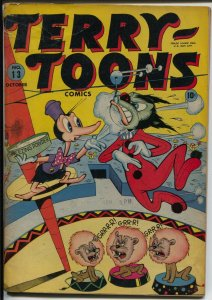 Terry-Toons #13 1943-Timely-WWII-Dinky Duck-Nazi's-Halloween-circus-G