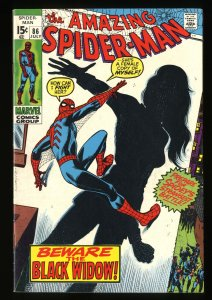 Amazing Spider-Man #86 VF- 7.5 Origin of Black Widow! Marvel Comics Spiderman