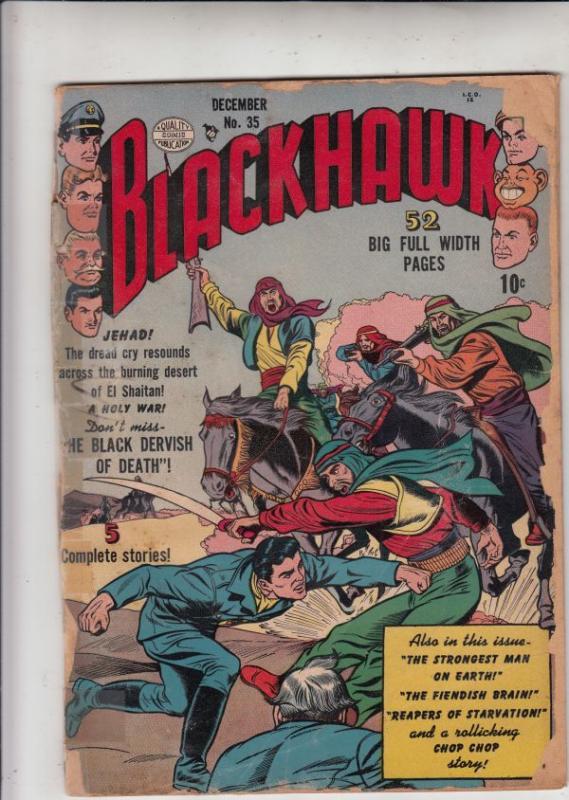 Blackhawk #35 (Dec-50) FR/GD Low-Grade Black Hawk, Chop Chop, Olaf, Pierre,Ch...