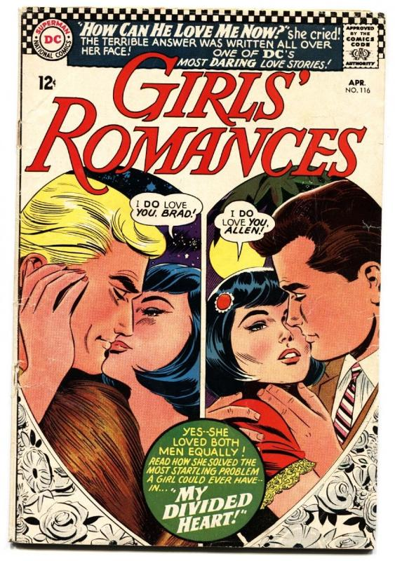 Girls' Romances #116 1966-DC-heartshaped cover imagery-daring love stories G