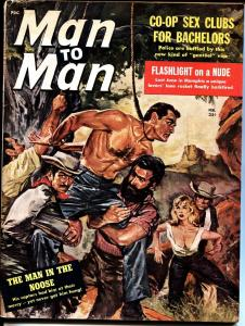 Man to Man Feb 1960 Violent hanging cover POE cheesecake Pulp bad mags
