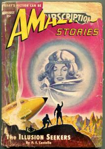 Amazing Stories Pulp August 1950- Illusion Seekers- Rocket cover