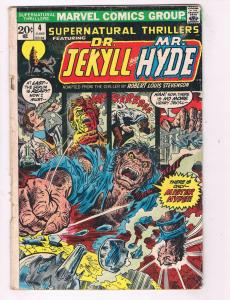 Supernatural Thrillers #4 Marvel Comic Book Dr Jekyll Mr Hyde HH4 AD38