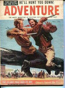 Adventure11/1955-Popular Pubs-knife fight cover-pulp thrills-P/FR