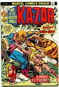 Ka-Zar #3 (8.0-8.5) 1974 Ka-Zar Zabu Bronze Age Marvel ID71L