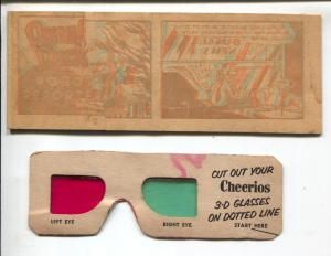 Cheerios 3-D Giveaway Set 3 #5 1954-original glasses-Donald Duck-FR