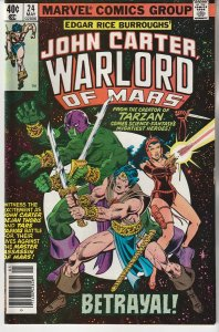 John Carter Warlord of Mars(Marvel) # 24  The Warlord targeted by Assassins !
