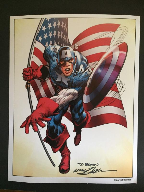 NEAL ADAMS SIGNED- CAPTAIN AMERICA- LAMENATED ART WORK-WONDER-CON HOLLYWOOD