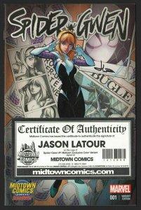 SPIDER-GWEN #1 MIDTOWN COLOR VARIANT J Scott Campbell SIGNED JASON LATOUR W/COA