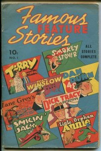 FAMOUS FEATURE STORIES #1-1938-DICK TRACY-TARZAN-SOUTHERN STATES PEDIGREE-vg+