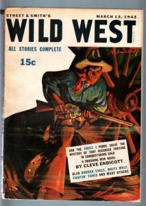 WILD WEST WEEKLY 3/13/1943-WESTERN PULP-WHITE WOLF FN/VF