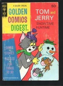 Golden Comics Digest #35 1974-Tom & Jerry Snowtime Fun-Comics-puzzles-games-VG