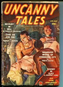 UNCANNY TALES 4/1939-1ST ISSUE-FEMALE TORTURE & DECAPITATION-SCHOMBURG ART-good