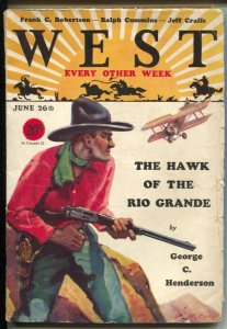 West 6/26/1929-aviation cover by HC Murphy-Hawk Of The Rio Grande-pulp thri...