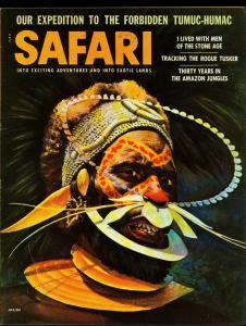 Safari Pulp Magazine July 1956- Hunting- Mant Rays- Gorillas Pygmies FN+