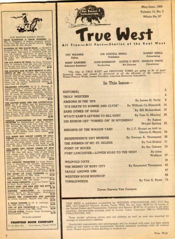True West June 1968- Bonnie & Clyde- Wyatt Earp FN-