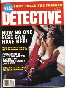 Real Detective 4/1980-bizarre cover-woman tied up on cvr