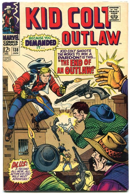 Kid Colt Outlaw #138 1968- Marvel Silver Age- End of an Outlaw FN
