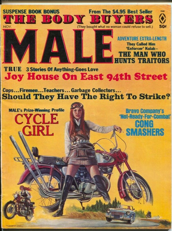 Male 11/1968-Atlas-Pussycat-Bill Ward-Emmett Kaye cycle girl cover-cheesecake-FN