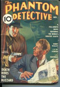 Phantom Detective 11/1936-Thrilling-hero pulp-crime-mystery- Blizzard-FN/VF