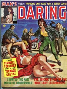 Man's Daring Magazine July 1961- Motorcycle Gang teenage cults- Nazi Witch