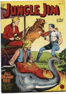 JUNGLE JIM #11-1949-FIRST ISSUE-TIGER & ELEPHANT COVER-PAUL NORRIS ART-STANDARD