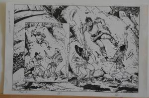 SAM GLANZMAN original art, WEST of the DAKOTAS #1 Pg 7, 2002, Splash, Fight