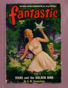 FANTASTIC ADVENTURES-MAR 1950-ROBERT BLOCH PULP FICTION VG