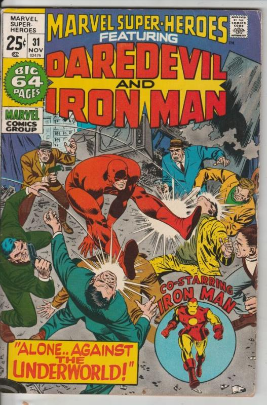 Marvel Super-Heroes Featuring Daredevil and Iron Man #31 (Nov-71) FN/VF Mid-H...