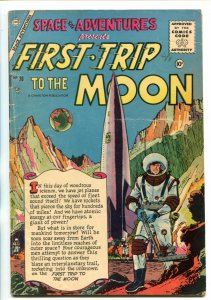 SPACE ADVENTURES #20-1956-CHARLTON-FIRST TRIP TO THE MOON-ROCKET COVER-vg+