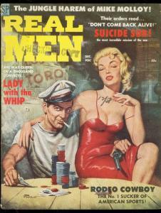 REAL MEN-DEC 1958-CHEESECAKE-VIC PREZIO SPICYPULP COVER VG