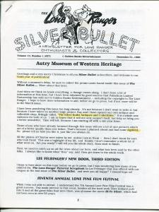 Lone Ranger Silver Bullet Newsletter #37 9/1996-Xerox format-limited printing-FN