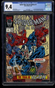 Spider-Man Special Edition #1 CGC NM 9.4 White Pages UNICEF Trial of Venom!