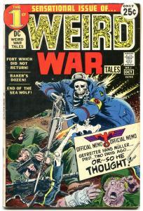 WEIRD WAR TALES #1-First issue DC 1971-Joe Kubert VG/F