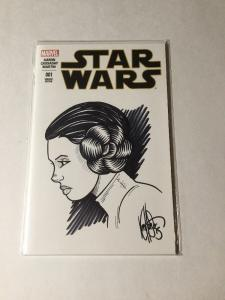 Star Wars 1 Sketch Variant Coa Signature Leia Sketch  Dynamic Forces Near Mint