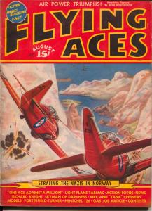 Flying Aces 8/1940-August Schomburg-Nazi Attack-Al McWilliams-hero pulp-VG