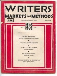 Writers' Markets and Methods 3/1936-G-Men-All Western-Poular Detective-Public En