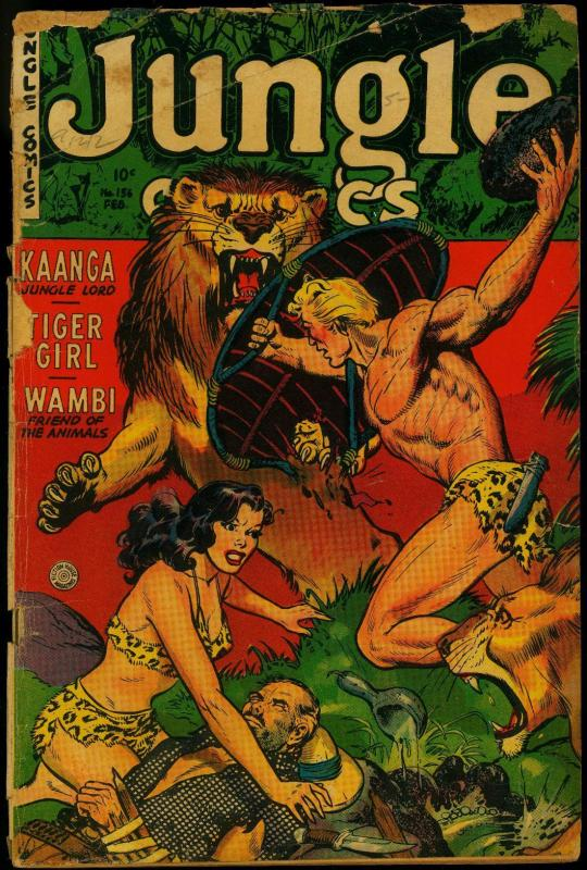 Jungle Comics #156 1953- Tiger Girl- Kaanga- Fiction House P/FR