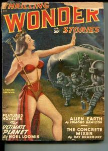 THRILLING WONDER STORIES 04/1949-SPICY BABE-RAY BRADBURY-HAMILTON-BLISH-good