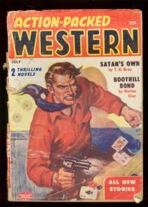 ACTION-PACKED WESTERN PULP-7/1956-CARD GAME COVER-fair FR
