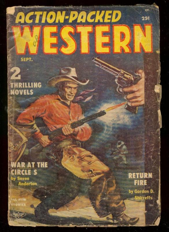 ACTION-PACKED WESTERN #2-SEPT 1954-PULP-DANIEL BOONE G/VG