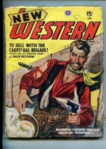 NEW WESTERN-FEB 1946-VIOLENT PULP FICTION-GUN BATTLE COVER-vg