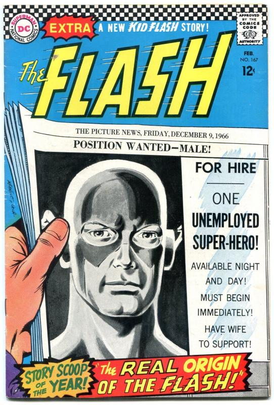 Flash #167 1967-DC Silver Age- New Origin issue FN-