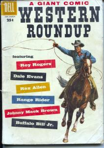 Western Roundup #21 1958-Dell-photo cover-Roy Rogers-Rex Allen-Bill Elliott-G/VG