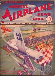 Model Airplane News 4/1933-Jay-air race pulp style aviation cover Kotuia-VG/FN