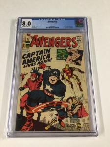 Avengers 4 Cgc 8.0 Ow/w Pages 1st Silver Age Captain America Marvel